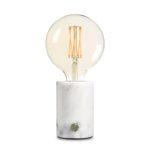 Bordlampe Med Dæmper - Hvid Marmor