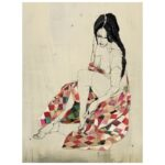 Madstitch - Melancholic Woman In Red Blanket - 30*40 cm
