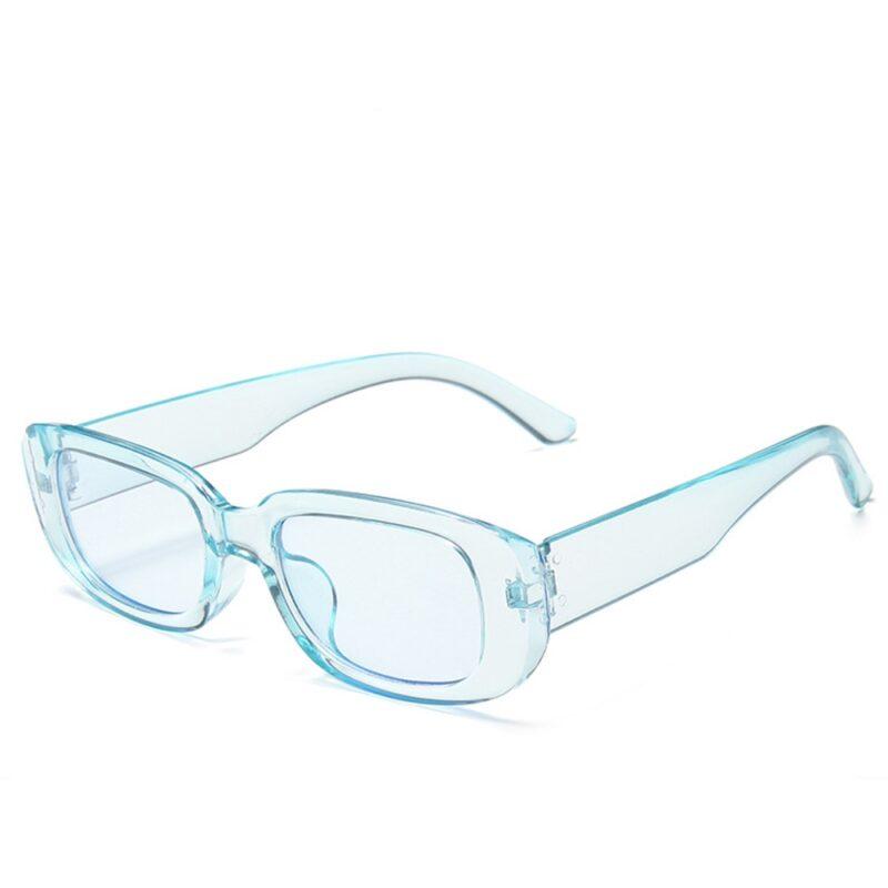 Rektangulær solbriller - Transparent blå