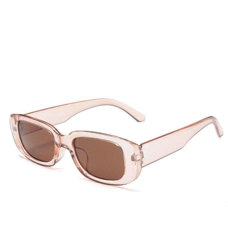 Rektangulær solbriller - Transparent rosa